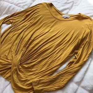 Gaze Tie- Bottom Mustard Yellow Long Sleeve Top M